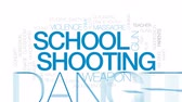 bando : School shooting animated word cloud, text design animation.Kinetic typography.