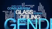 eşit : Glass ceiling animated word cloud, text design animation. Stok Video