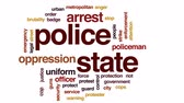 police officers : Police state animated word cloud, text design animation.