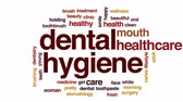 caries : Dental hygiene animated word cloud, text design animation. Stock Footage