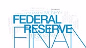 economics : Federal reserve animated word cloud, text design animation. Kinetic typography. Stock Footage