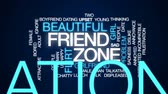 distraído : Friend zone animated word cloud, text design animation.