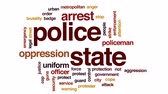 riot control : Police state animated word cloud, text design animation.
