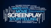 рукопись : Screenplay animated word cloud, text design animation.