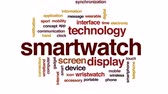 synchronization : Smartwatch animated word cloud, text design animation. Stock Footage