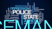 protester : Police state animated word cloud, text design animation.