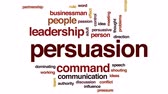 dominating : Persuasion animated word cloud, text design animation. Stock Footage