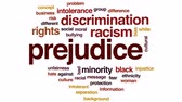 azınlık : Prejudice animated word cloud, text design animation.