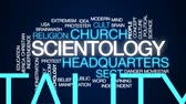 protester : Scientology animated word cloud, text design animation. Stock Footage