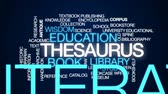 учебник : Thesaurus animated word cloud, text design animation. Стоковые видеозаписи