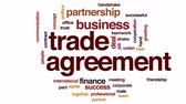 parceria : Trade agreement animated word cloud, text design animation. Vídeos