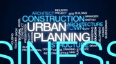 architectural model : Urban planning animated word cloud, text design animation. Stock Footage