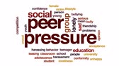opinião : Peer pressure animated word cloud, text design animation.