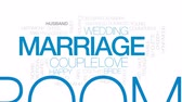 matrimônio : Marriage animated word cloud, text design animation. Kinetic typography.