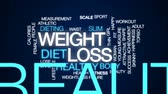 calorias : Weight loss animated word cloud, text design animation. Stock Footage