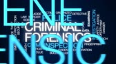 bizonyíték : Criminal forensics animated word cloud, text design animation.
