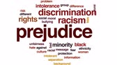 racism : Prejudice animated word cloud, text design animation.