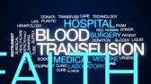 blood supply : Blood transfusion animated word cloud, text design animation. Stock Footage