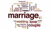 matrimônio : Marriage animated word cloud, text design animation.