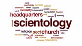 sect : Scientology animated word cloud, text design animation. Stock Footage