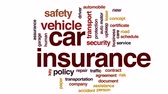 politika : Car insurance animated word cloud, text design animation.