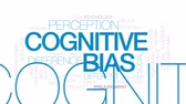 opinião : Cognitive bias animated word cloud, text design animation. Kinetic typography.