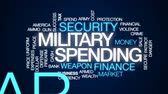giderler : Military spending animated word cloud, text design animation.