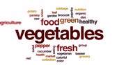 saláta : Vegetables animated word cloud, text design animation.