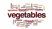 zelí : Vegetables animated word cloud, text design animation.