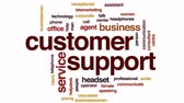 mikrofon : Customer support animated word cloud, text design animation.