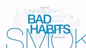 addict : Bad habits animated word cloud, text design animation. Kinetic typography.