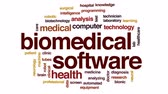 analiz etmek : Biomedical software animated word cloud, text design animation. Stok Video