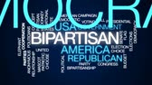 político : Bipartisan animated word cloud, text design animation.