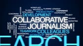 produtividade : Collaborative journalism animated word cloud, text design animation.