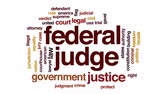spravedlnost : Federal judge animated word cloud, text design animation.
