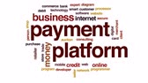 retailers : Payment platform animated word cloud, text design animation.