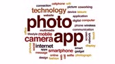cihaz : Photo app animated word cloud, text design animation. Stok Video