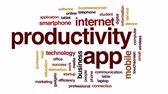 tablet počítač : Productivity app animated word cloud, text design animation. Dostupné videozáznamy