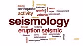sheets : Seismology word cloud, text design animation.