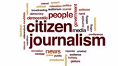 gazeteci : Citizen journalism animated word cloud, text design animation. Stok Video