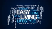 oturma odası : Easy living animated word cloud, text design animation. Stok Video