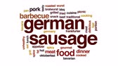 баварский : German sausage animated word cloud, text design animation. Стоковые видеозаписи