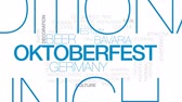 баварский : Oktoberfest animated word cloud, text design animation. Kinetic typography.