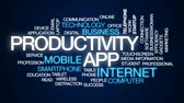 spuštění : Productivity app animated word cloud, text design animation. Dostupné videozáznamy
