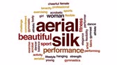 denge : Aerial silk animated word cloud, text design animation. Stok Video