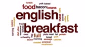 английский : English breakfast animated word cloud, text design animation. Стоковые видеозаписи