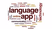 překlad : Language app animated word cloud, text design animation. Dostupné videozáznamy