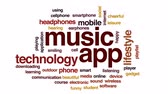 earbuds : Music app animated word cloud, text design animation.