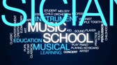 lição : Music school animated word cloud, text design animation.