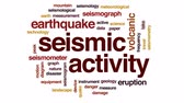 wykresy : Seismic activity animated word cloud, text design animation.